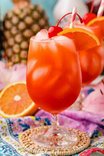 Bahama Mama Cocktail with a an orange slice and cherry