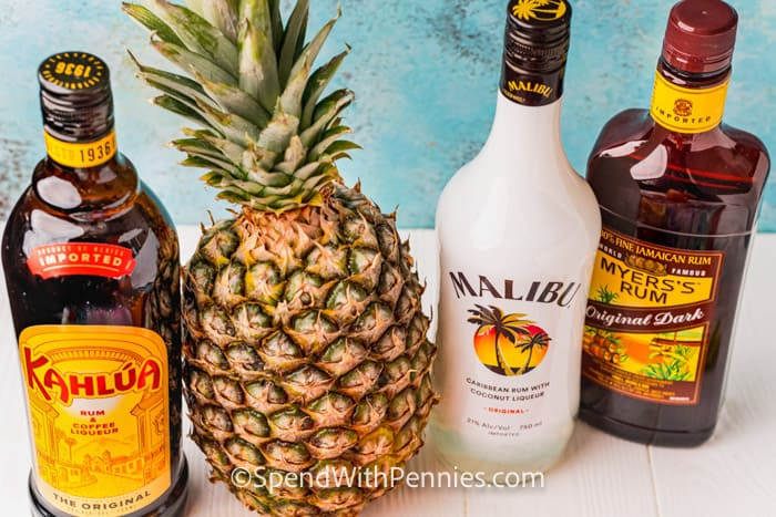 ingredients to make a Bahama Mama Cocktail