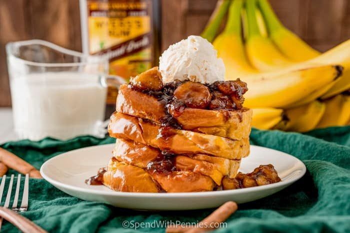 Bananas Foster French Toast on a plate
