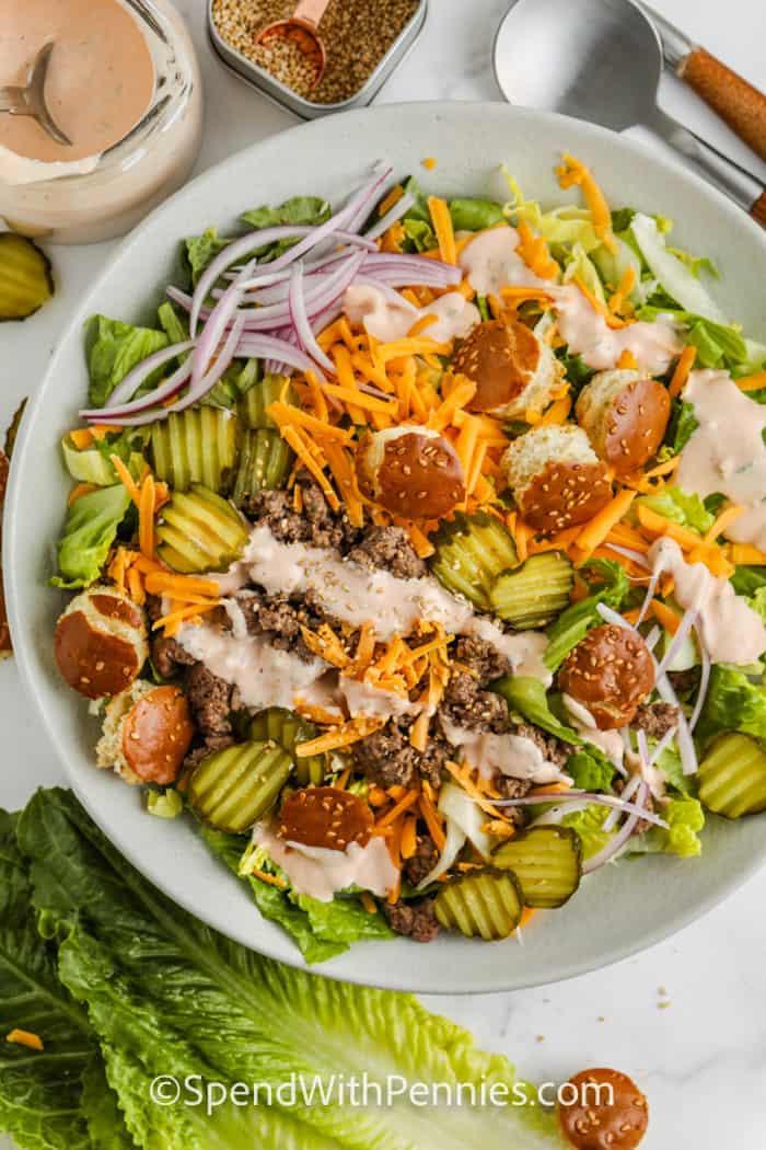 top view of plated Big Mac Cheeseburger Salad