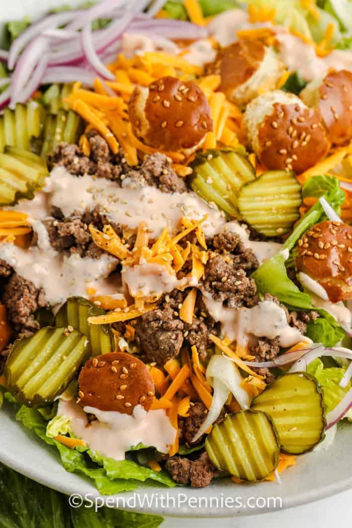 close up of Big Mac Salad with dressing