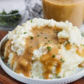 mashed potatoes with Brown Gravy