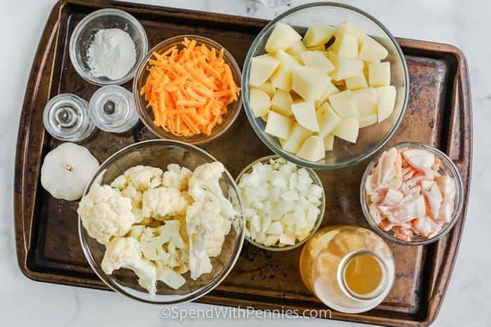 ingredients to make Cauliflower Cheddar Soup