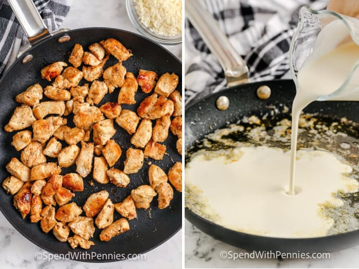 Steps for making chicken alfredo in a pan