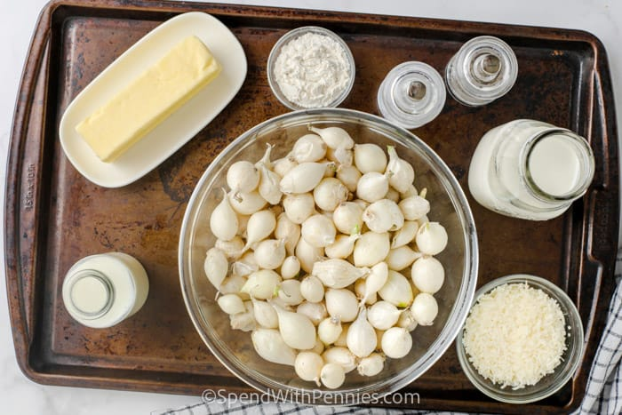 ingredients to make Creamy Pearl Onions