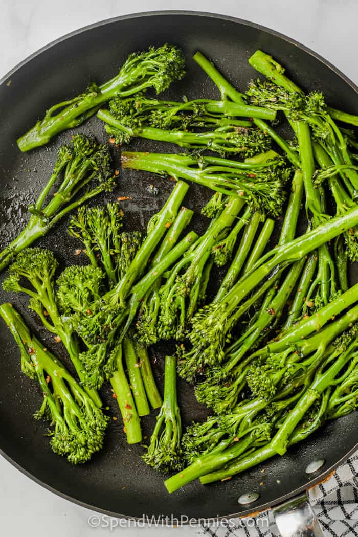 top view of cooked Garlic Broccolini in the pan