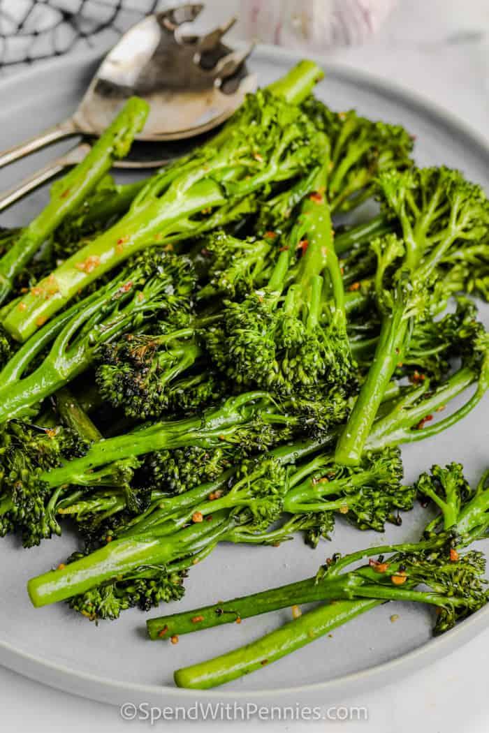 plated Garlic Soy Broccolini