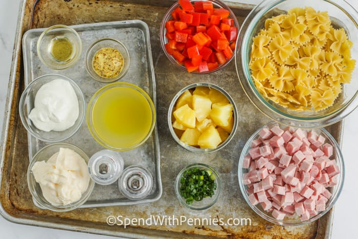 ingredients to make Ham and Pineapple Pasta Salad