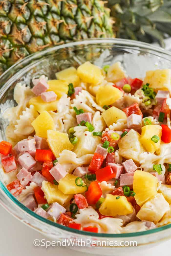 Ham and Pineapple Pasta Salad in a glass bowl