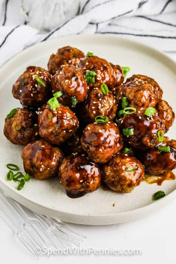 plated Hoisin Glazed Meatballs