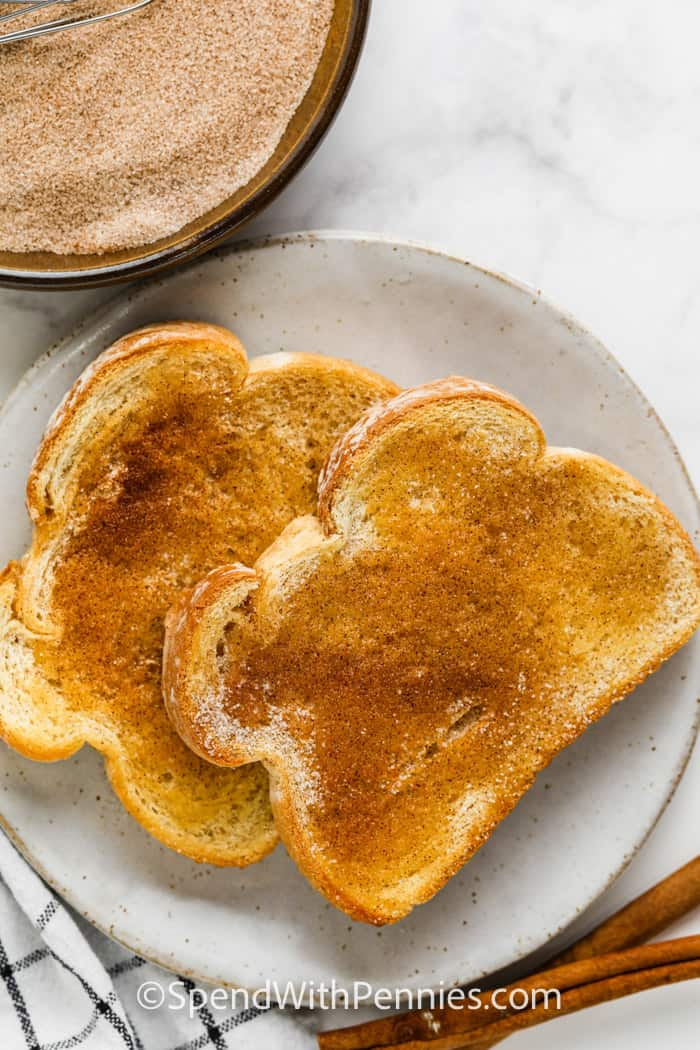 top view of buttered toast with topping to show How to Make Cinnamon Sugar