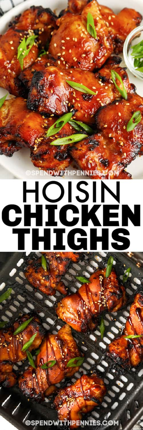 cooked Air Fryer Hoisin Thighs in the air fryer and plated with a title