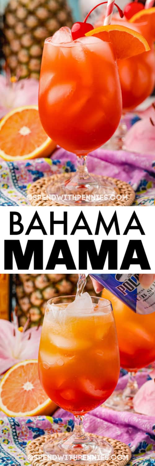 pouring ingredients in a Bahama Mama Cocktail with final drink and a title