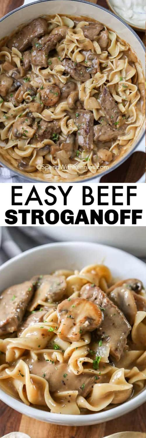 Beef Stroganoff in the pot and plated with a title