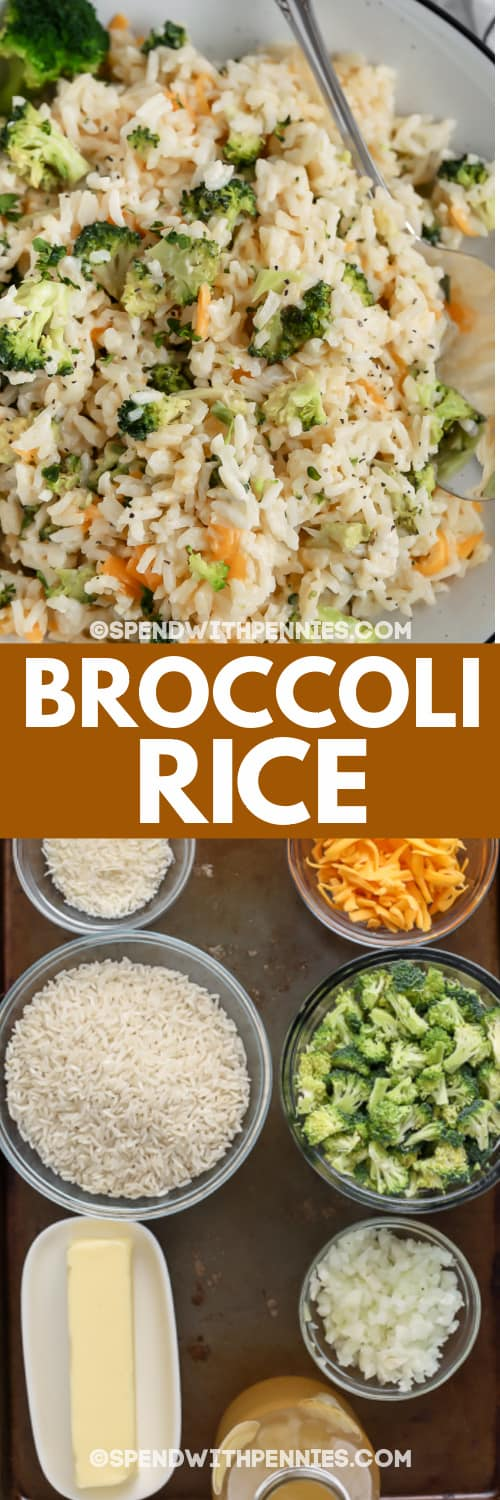 broccoli rice and ingredients with text