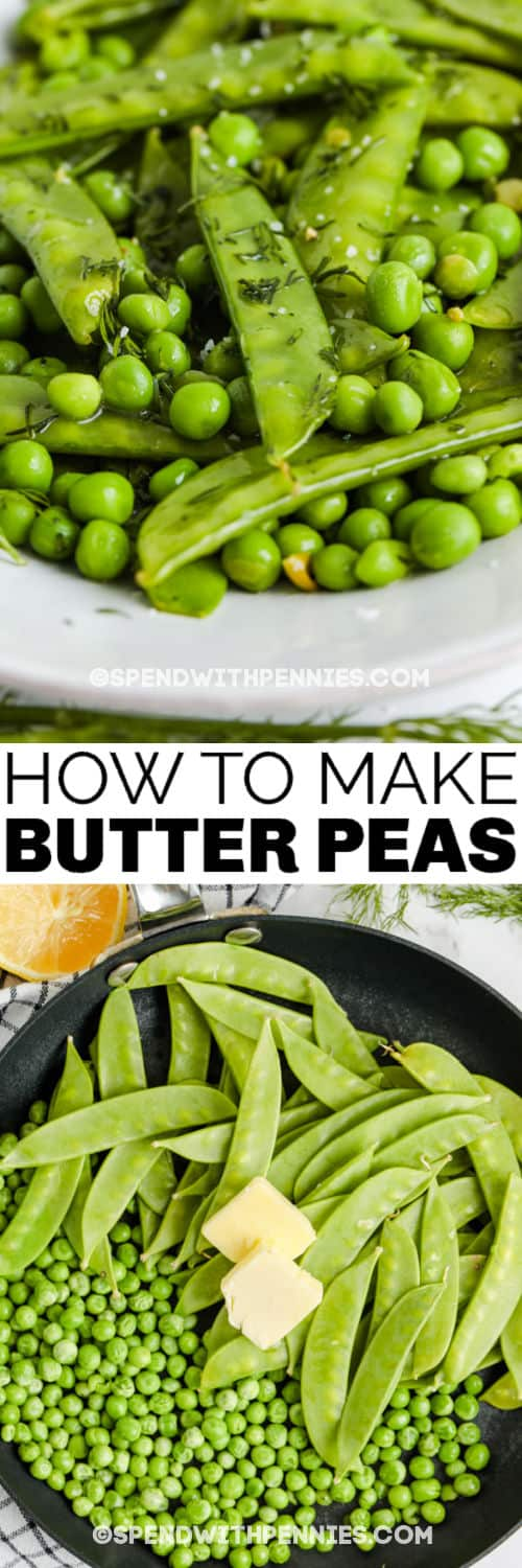 cooking Butter Peas in the pan and plated with a title