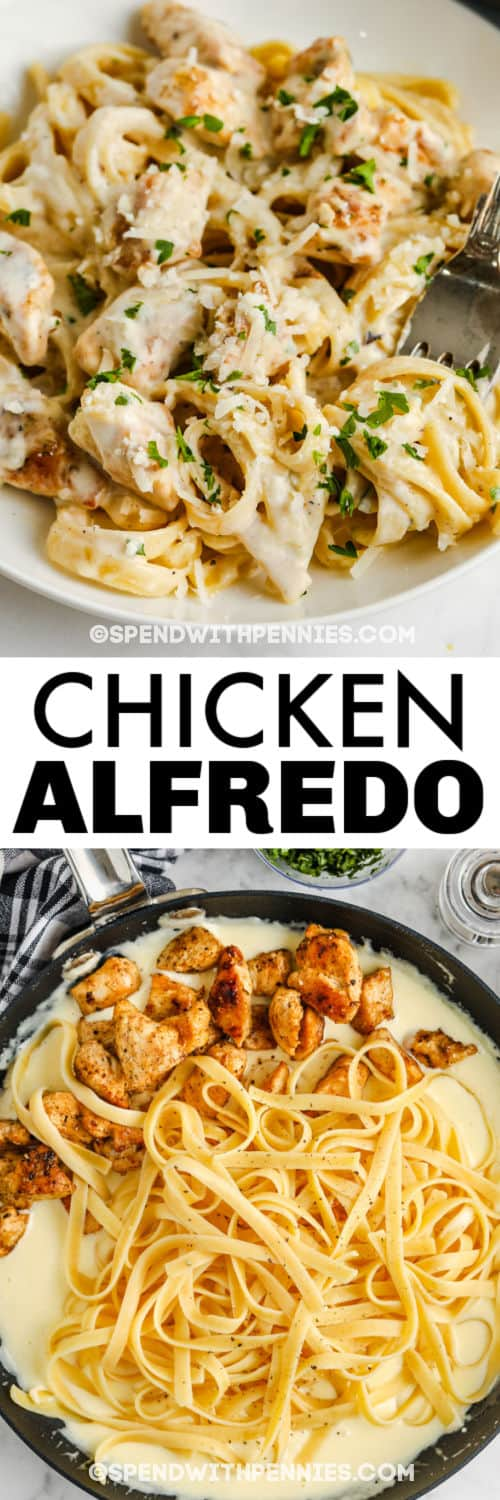 adding ingredients to pan to make Chicken Alfredo with finished dish and a title