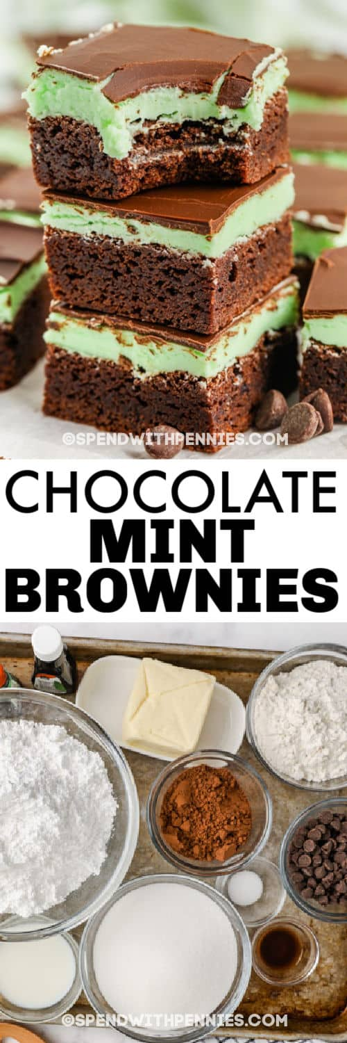 ingredients to make Chocolate Mint Brownies with finished dish with a title