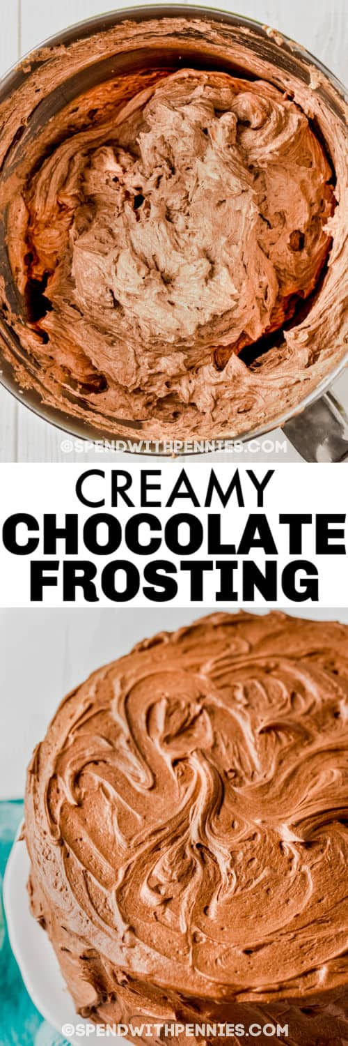 Creamy Chocolate Frosting in the pan and on a cake with a title