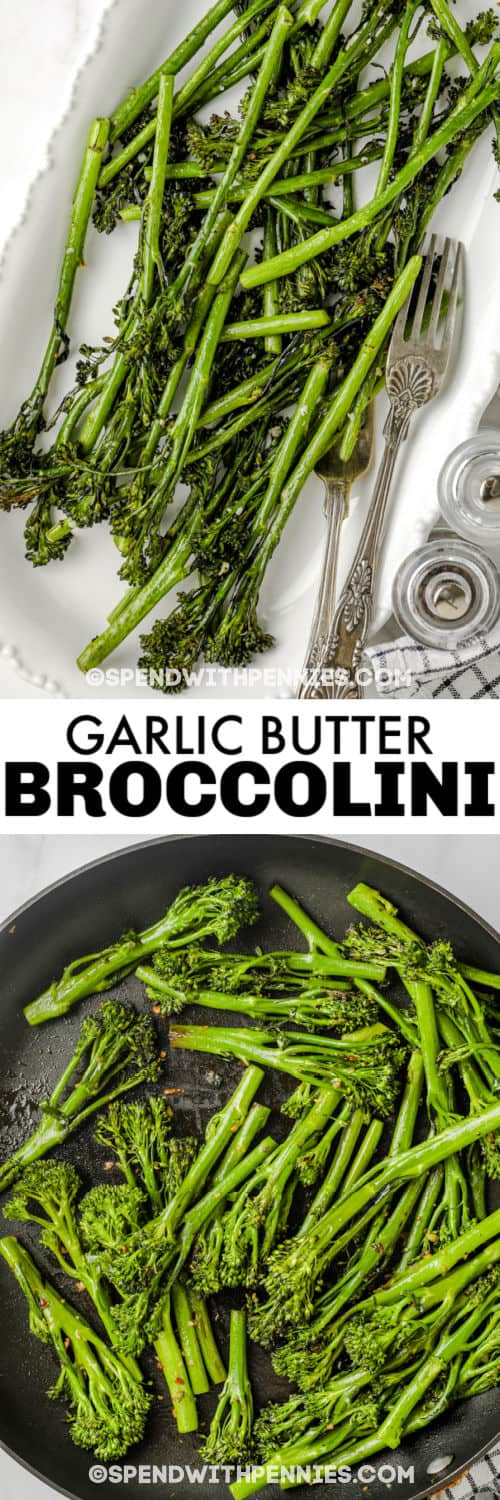 Garlic Broccolini in the pan cooking and plated with a title
