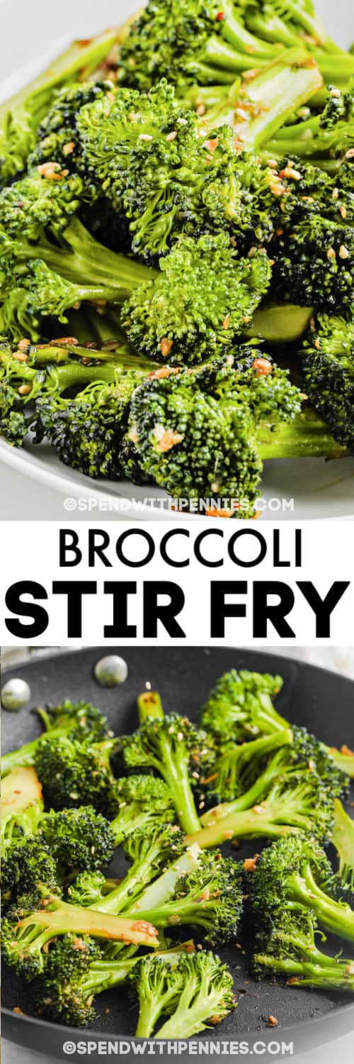 Sesame Broccoli Stir Fry cooking in a pan and plated with a title