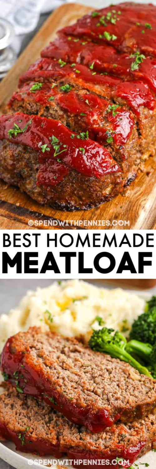 The Best Meatloaf sliced and plated with a title