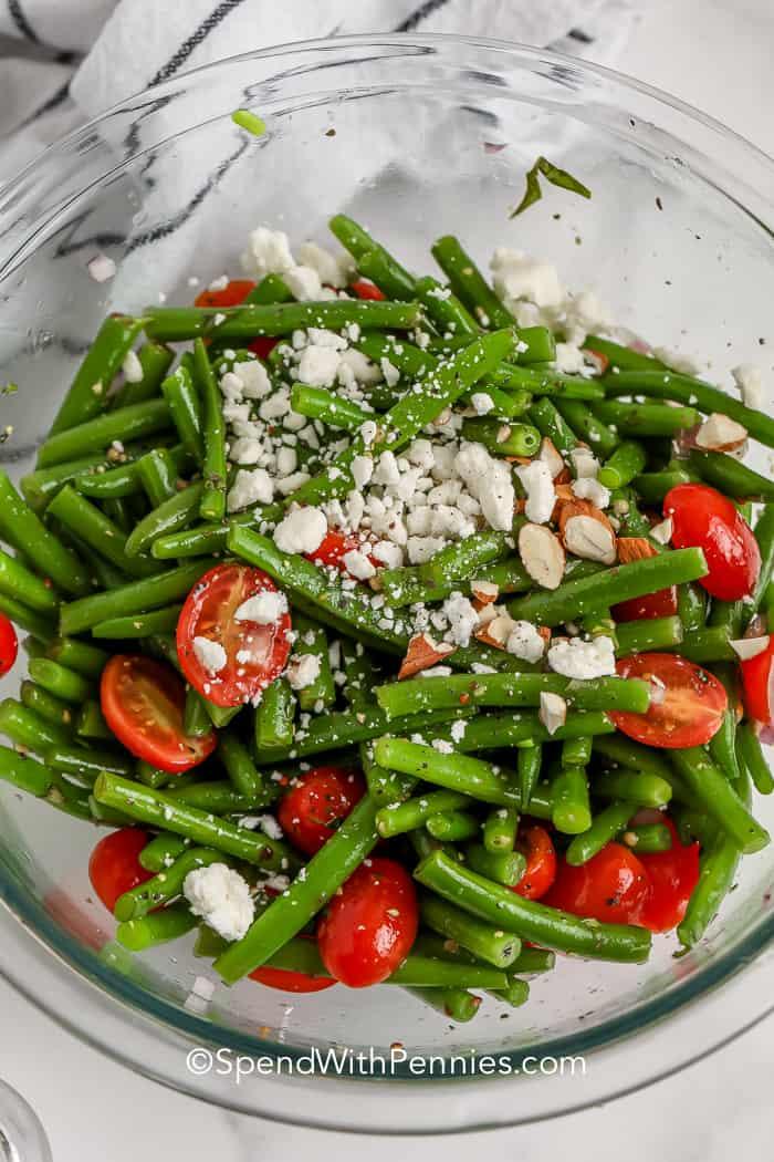 green bean salad in a glass bowl