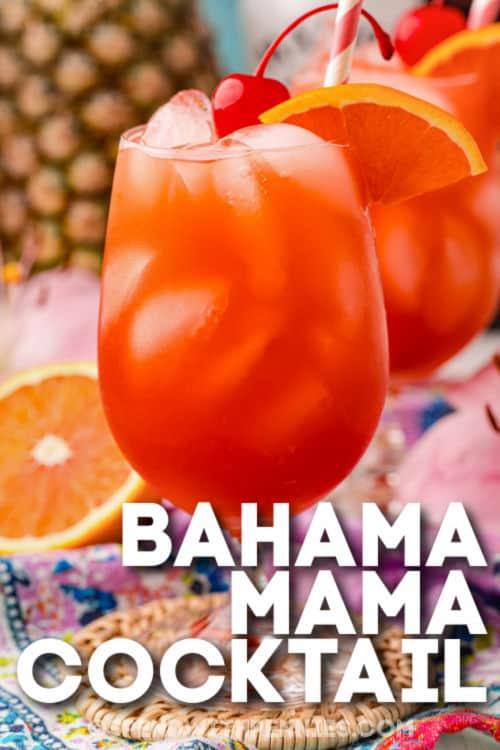 Bahama Mama Cocktail with writing