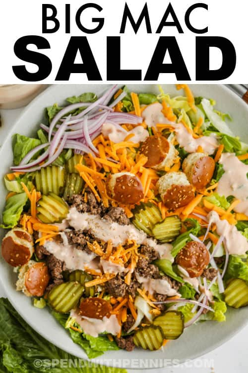 top view of Big Mac Salad in a dish with a title