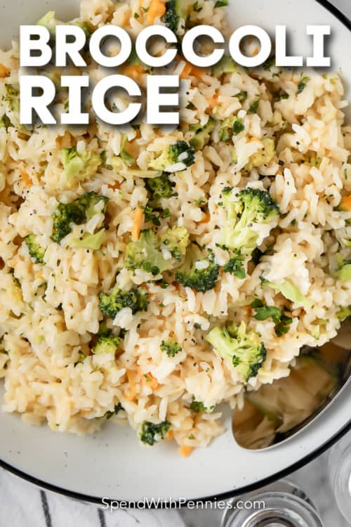 broccoli rice in a bowl with text
