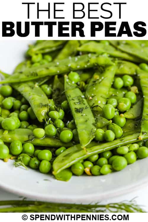Butter Peas on a white plate with writing