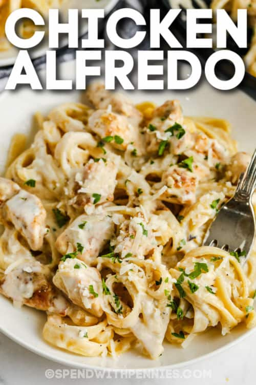 plate full of Chicken Alfredo with a title