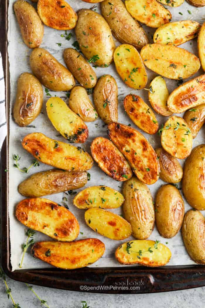 Roasted Fingerling Potatoes cooked in a baking sheet