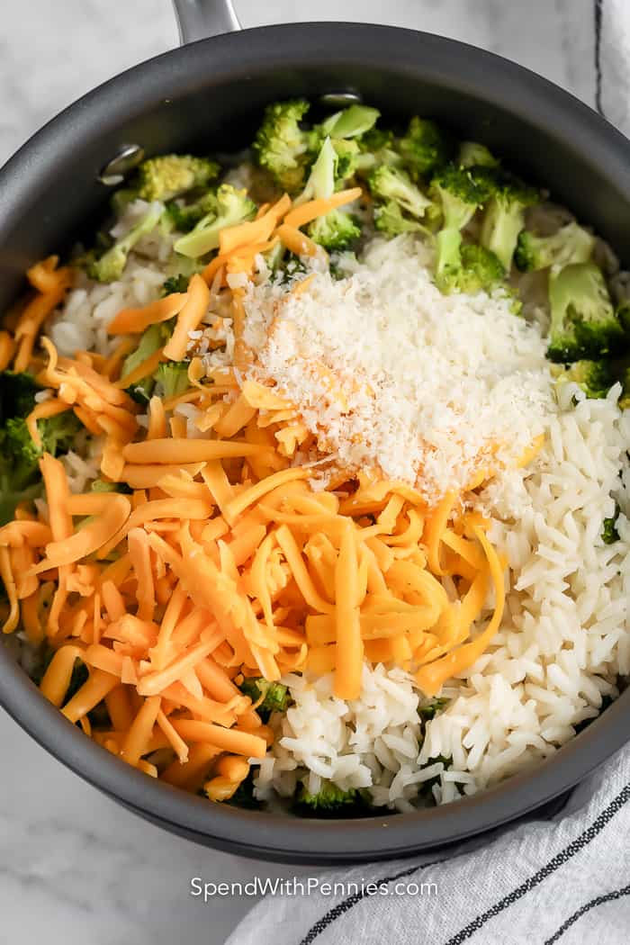 broccoli rice ingredients in pan