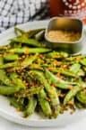 plated Roasted Snap Peas
