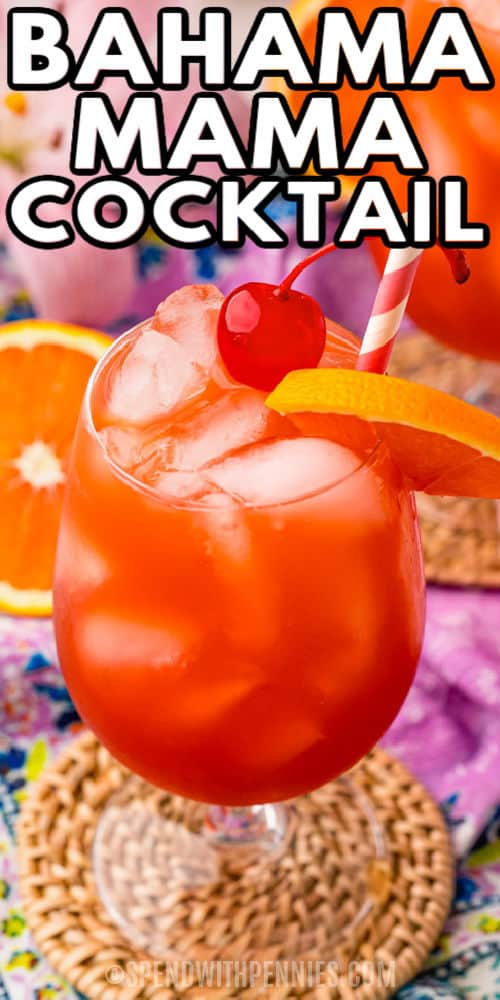 Bahama Mama Cocktail with a cherry on top and a title