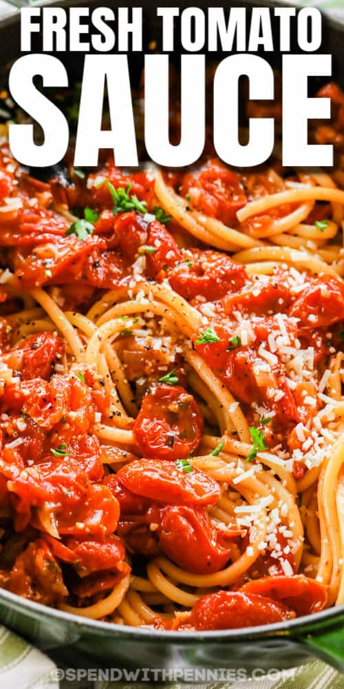 close up of Bucatini with Fresh Tomato Sauce with a title
