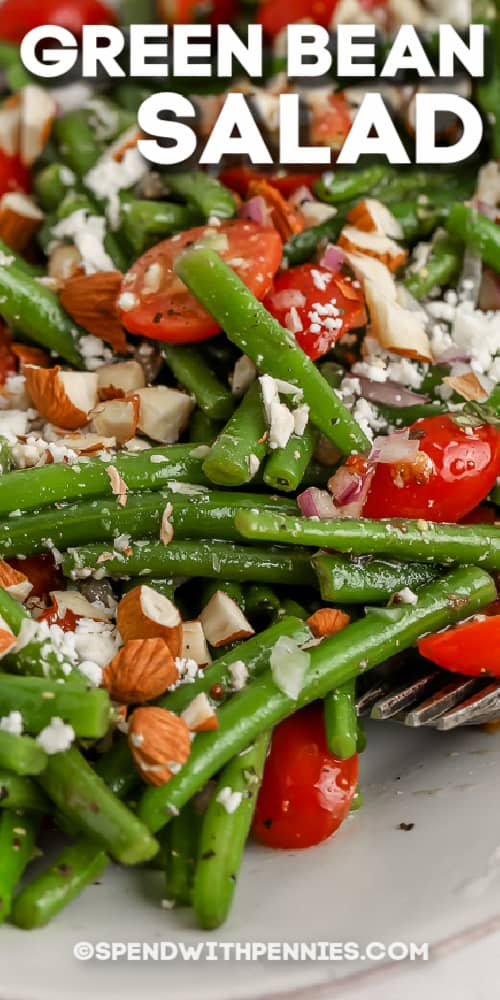 green bean salad on a dish with text
