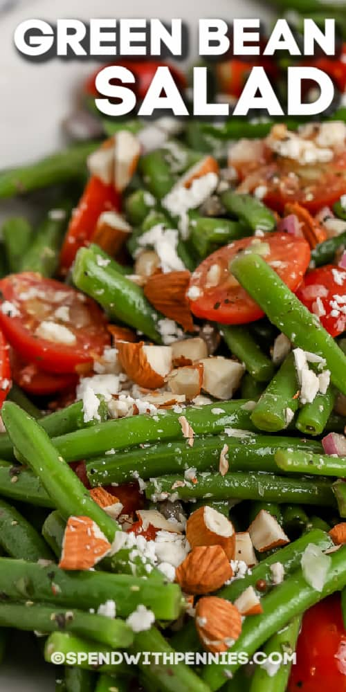 close up of green bean salad with text