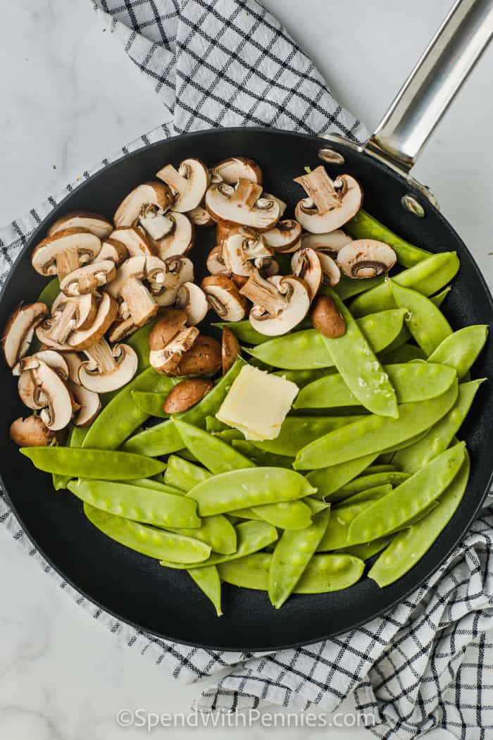 Snow Peas and Mushrooms in the pan