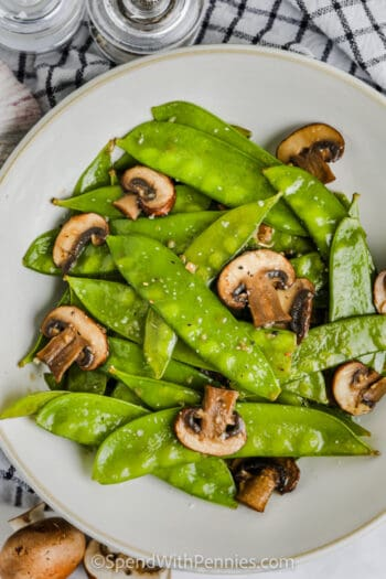 plated Snow Peas and Mushrooms