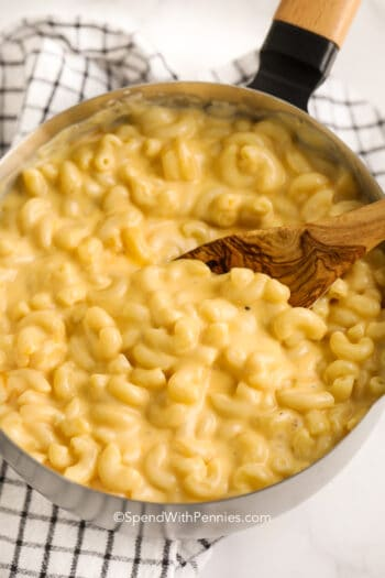 easy mac and cheese in a pot with a spoon