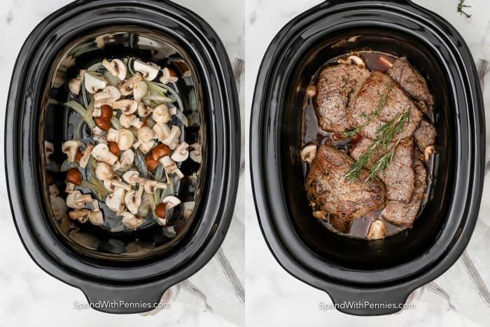 side by side process of cooking steaks in crock pot