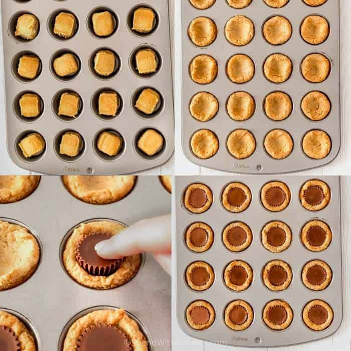 process of adding chocolate to cookies to make Peanut Butter Cookies Cups
