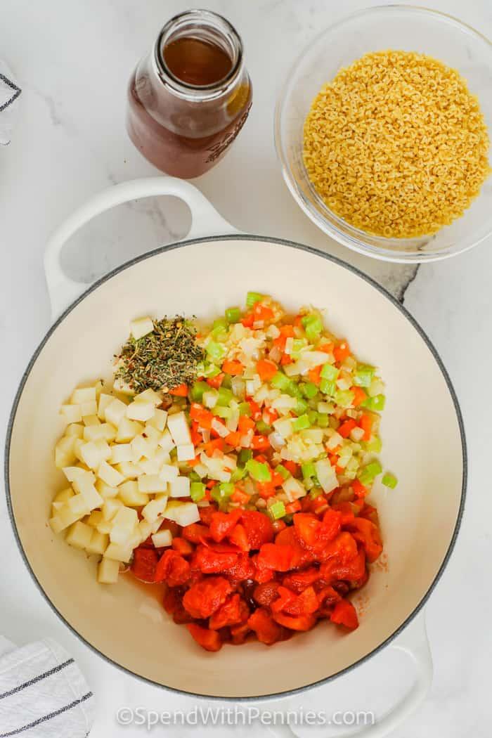 Alphabet Soup ingredients in a pot