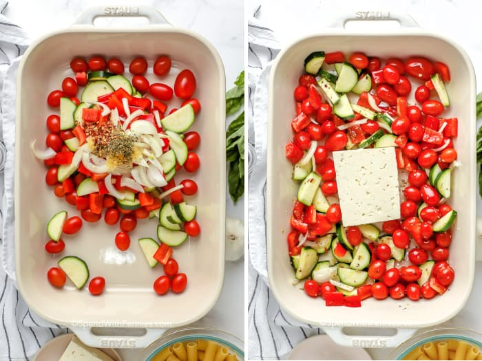 process of adding ingredients for roasted vegetable feta pasta in pan
