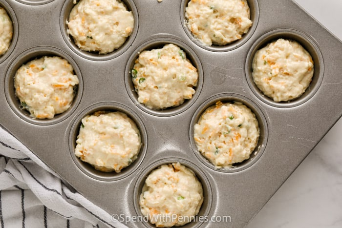 Cheese Muffins (Quick Bread) in the muffin tin before baking