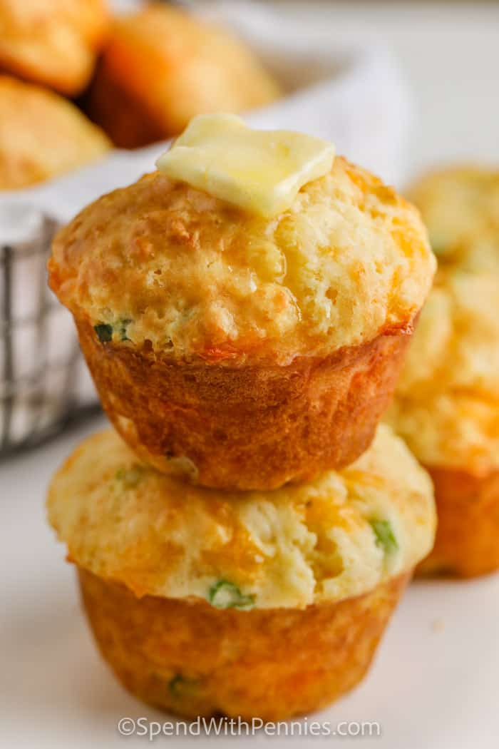 Cheese Muffins (Quick Bread) with melted butter