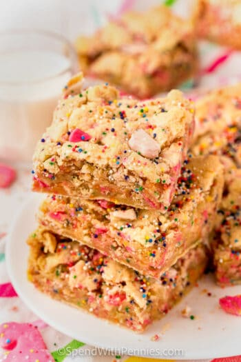 squares of Circus Animal Blondies in a pile
