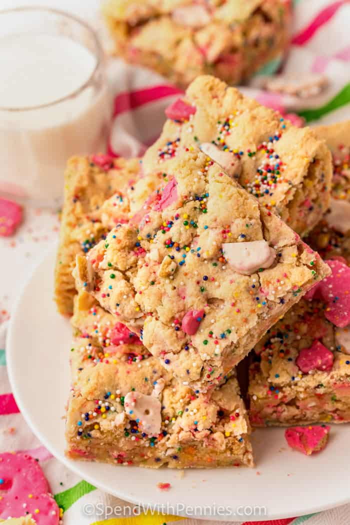 squares of Circus Animal Blondies on a plate